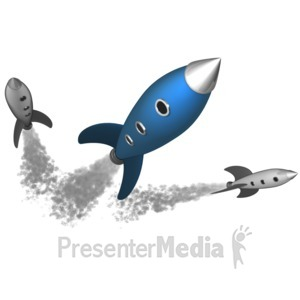 ID# 6449 - Retro Rockets - Presentation Clipart