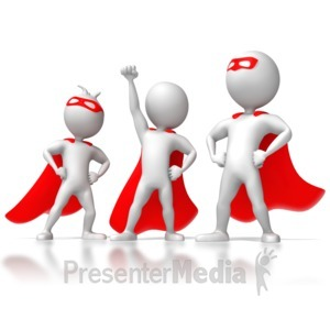 ID# 6467 - Three Stick Figure Superheros - Presentation Clipart