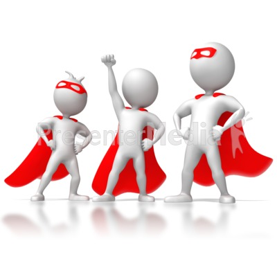 Three Stick Figure Superheros PowerPoint Clip Art