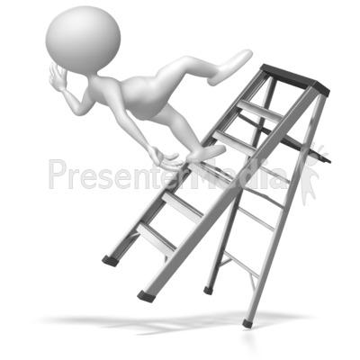 Stick Figure Falling Off Ladder PowerPoint Clip Art