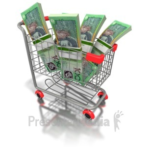 ID# 6493 - Shopping Cart with Australian Money - Presentation Clipart