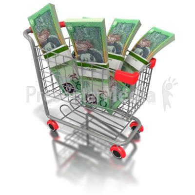 Shopping Cart with Australian Money PowerPoint Clip Art