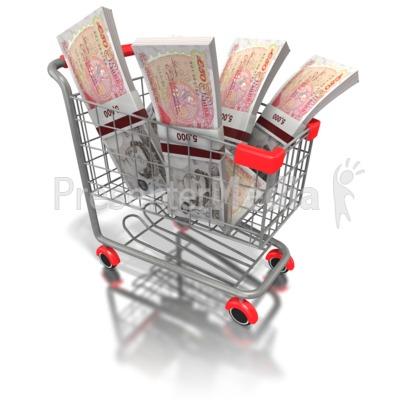 Shopping Cart British Money PowerPoint Clip Art