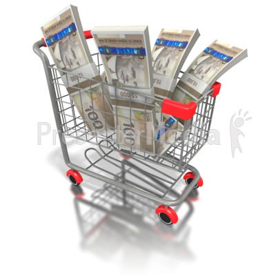 Shopping Cart with Canadian Money PowerPoint Clip Art