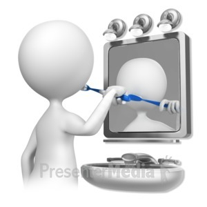 ID# 6518 - Stick Figure Brushing Teeth - Presentation Clipart