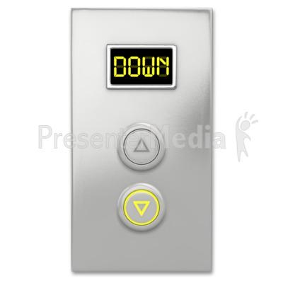 Elevator Button Down PowerPoint Clip Art