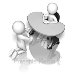 ID# 6532 - Begging To The Boss - Presentation Clipart