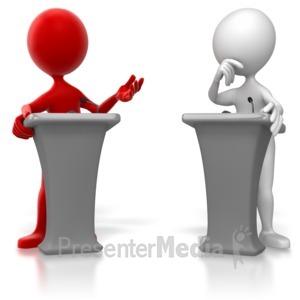 ID# 6537 - Stick Figure Colored Podium Debate  - Presentation Clipart