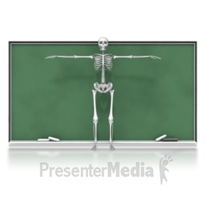 ID# 6576 - Skeleton in Front of Chalkboard - Presentation Clipart
