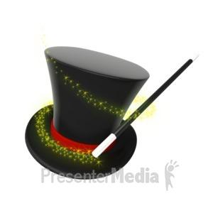 ID# 6594 - Magician Hat Wand Swirl - Presentation Clipart