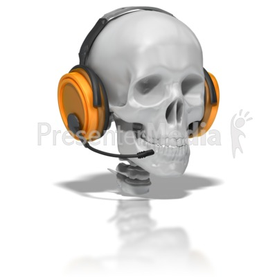 Skull Wearing Headset PowerPoint Clip Art