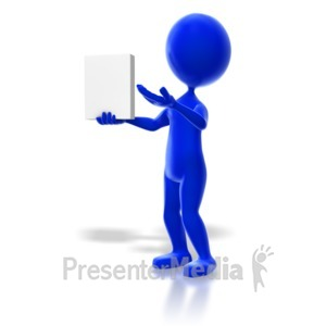 ID# 6640 - Stick Figure Showing an Item - Presentation Clipart