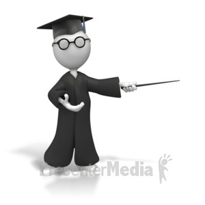 ID# 6645 - Professor With Pointer Display - Presentation Clipart