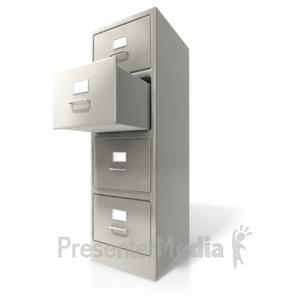 ID# 6676 - Office Cabinet Door Open - Presentation Clipart