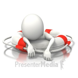 ID# 6690 - Stick Figure Buoy Exhausted - Presentation Clipart