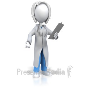 ID# 6702 - Female Doctor or Nurse With Clipboard - Presentation Clipart
