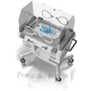 ID# 6705 - Preemie Baby In Incubator - Presentation Clipart