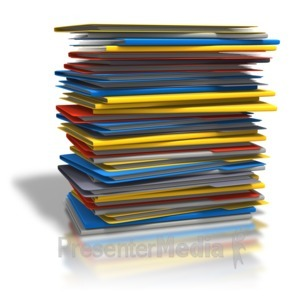 ID# 6706 - Pile Of Folders - Presentation Clipart