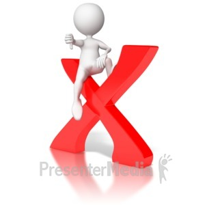 ID# 6708 - Sitting on X with Thumbs Down - Presentation Clipart