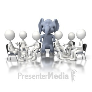 ID# 6740 - Elephant In Room - Presentation Clipart