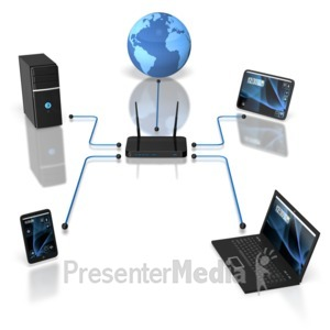 ID# 6762 - Wireless Device Network - Presentation Clipart