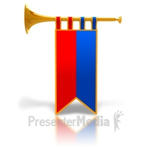 ID# 6789 - Single Gold Trumpet Fanfare - Presentation Clipart