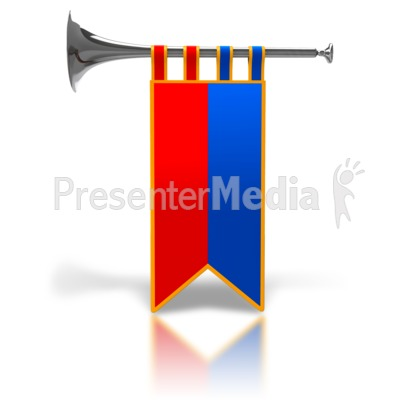 Single Trumpet Fanfare Silver PowerPoint Clip Art