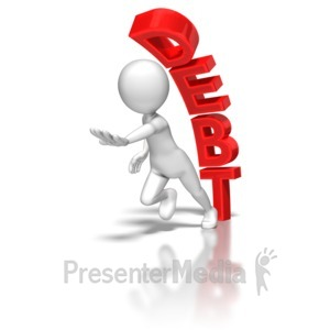 ID# 6814 - Stick Figure Running From Debt - Presentation Clipart