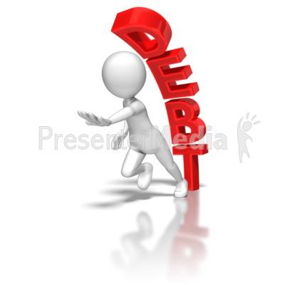 Stick Figure Running From Debt PowerPoint Clip Art