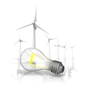 ID# 6815 - Energy Light Bulb Wind Turbine - Presentation Clipart