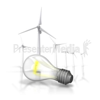 Energy Light Bulb Wind Turbine PowerPoint Clip Art