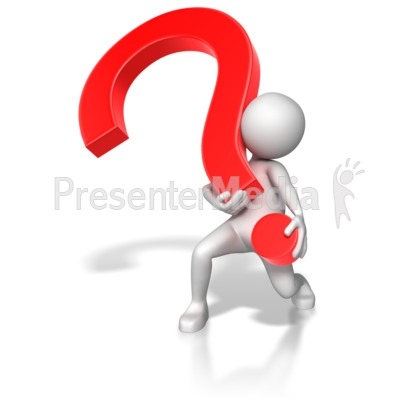 Stick Figure Lifting Heavy Question Mark PowerPoint Clip Art