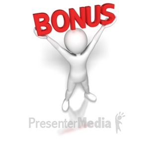 ID# 6848 - Stick Figure Holding Bonus - Presentation Clipart