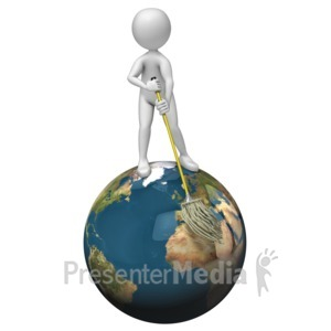 ID# 6859 - Stick Figure Mopping World - Presentation Clipart