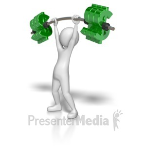 ID# 6868 - Stick Figure Lifting Dollar Weights - Presentation Clipart