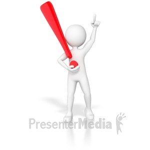 ID# 6882 - Stick Figure Holding Exclamation Point  - Presentation Clipart