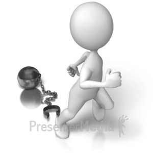 ID# 6883 - Ball N Chain Freedom - Presentation Clipart