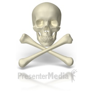 ID# 6899 - Skull And Crossbones - Presentation Clipart