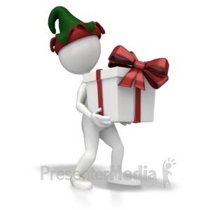 ID# 6900 - Christmas Elf Present - Presentation Clipart