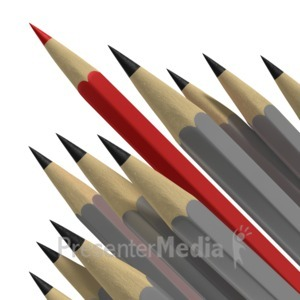 ID# 6922 - Pencil Standing Out - Presentation Clipart