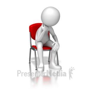 ID# 6937 - Stick Figure Sitting Bored - Presentation Clipart