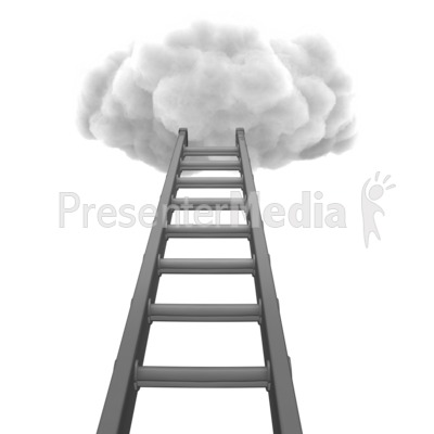Ladder To Cloud PowerPoint Clip Art