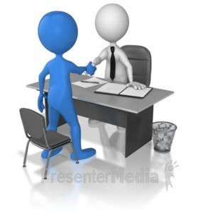 ID# 6953 - One On One Interview Hand Shake - Presentation Clipart