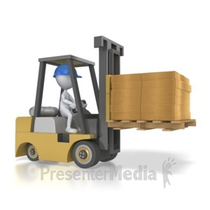 ID# 6957 - Forklift Carry Flatten Boxes - Presentation Clipart