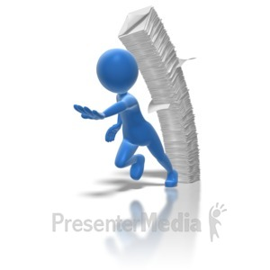 ID# 6976 - Stick Figure Running From Paperwork - Presentation Clipart