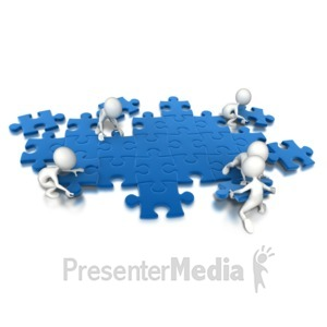 ID# 6984 - Puzzle People Working Together - Presentation Clipart
