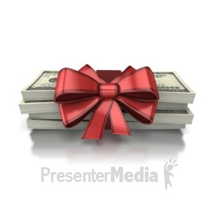 ID# 6994 - Gift Of Money - Presentation Clipart