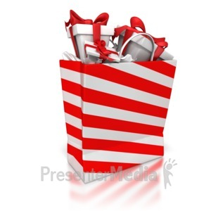 ID# 6996 - Shopping Bag With Presents - Presentation Clipart