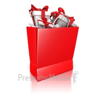 ID# 7000 - Shopping Bag Solid Color With Presents - Presentation Clipart
