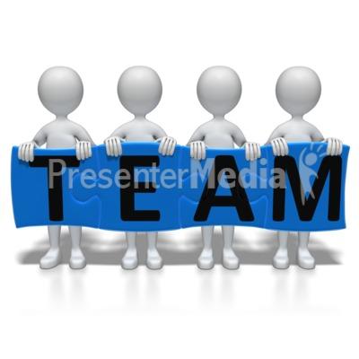 Stick Figures Team Puzzle PowerPoint Clip Art
